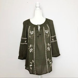Nordstrom Caslon Olive Embroidered Peasant Top S